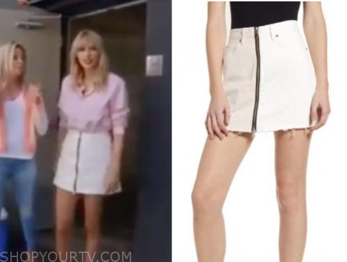 Cbs Sunday Morning August 2019 Taylor Swift S White Denim Zipper Mini Skirt Shop Your Tv