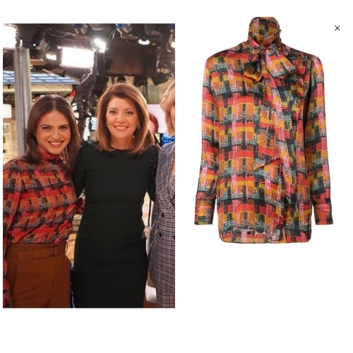 Bianna wore this printed tie neck blouse on the news