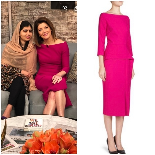 Norah O'Donnell wears this Pink Roland Mouret dress