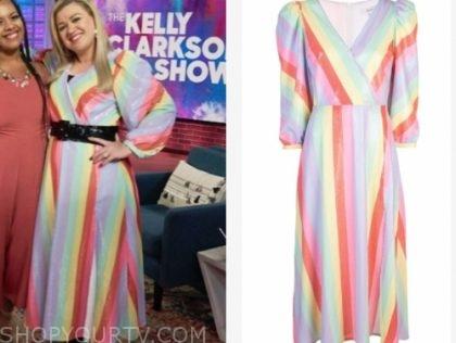 The Kelly Clarkson Show September 2019 Kelly Clarkson S Rainbow Stripe Embellish Dress Shop Your Tv