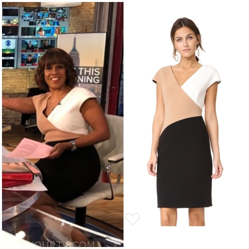 Gayle wears this v-neck color-block dress