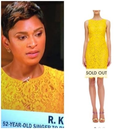 CBS This Morning Jericka's Yellow lace sleeveless on the news out of stock on Neiman Marcus https://www.neimanmarcus.com/p/michael-kors-floral-lace-empire-shift-dress-prod153730166?ecid=NMAF__ShopStyle++Collective&CS_003=5630585&utm_medium=affiliate&utm_source=NMAF__ShopStyle++Collective