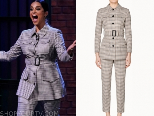 lilly singh, late night with seth meyers, check suit