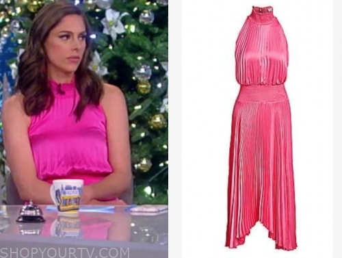 abby huntsman's pink pleated halter midi dress