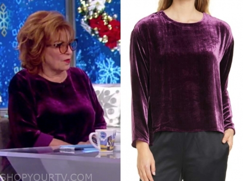 joy behar purple velvet top