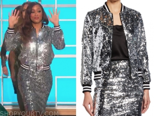 eve's silver sequin bomber jacket and skirt
