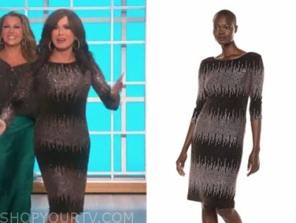 marie osmond black and rose gold sequin dress
