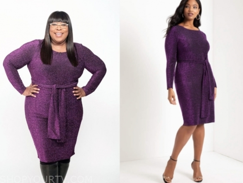 loni love's purple metallic tie waist dress