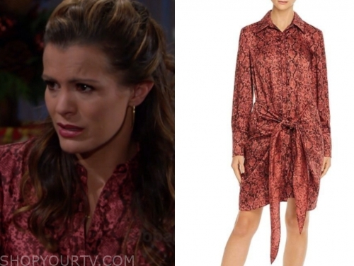 chelsea newman's red snakeskin dress