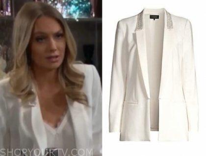 abby newman's white embellished blazer