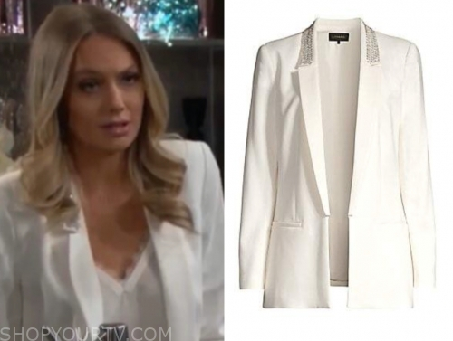 abby newman's white embellished blazer
