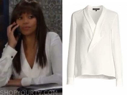 amanda sinclair's white wrap blouse