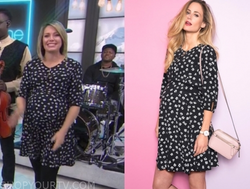 dylan dreyer's black and white floral maternity dress