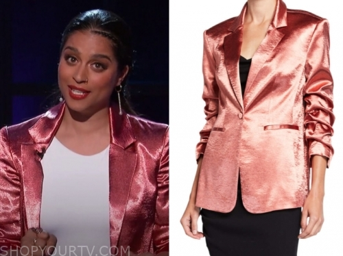 lilly singh rose gold satin blazer