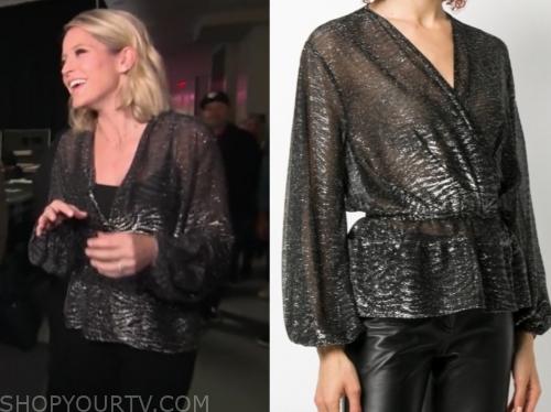 sara haines's black metallic blouse
