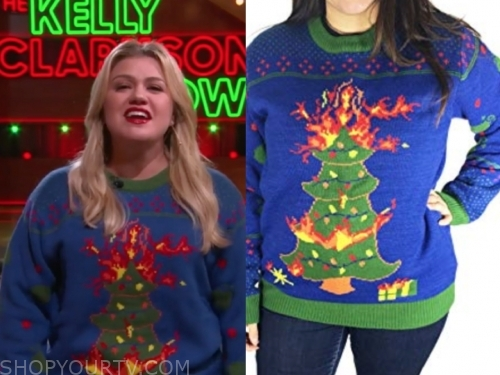 kelly clarkson's blue christmas tree fire sweater