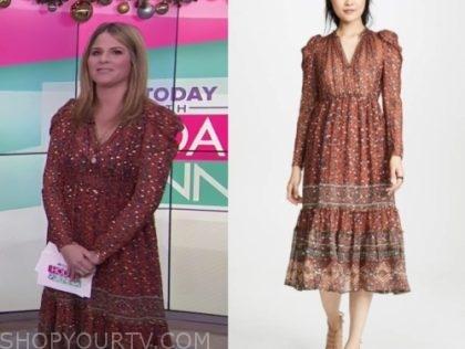 jenna bush hager's metallic dot printed midi dress