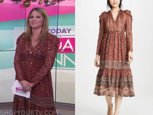 jenna bush hager's metallic dot printed midi dress