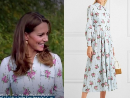 kate middleton blue rose print shirt dress