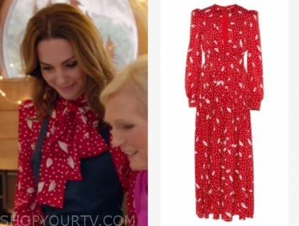 kate middleton's red and white tie neck printed dress