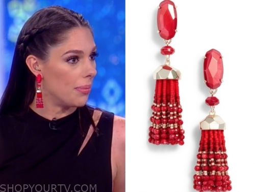 abby huntsman's red beaded tassel earrings