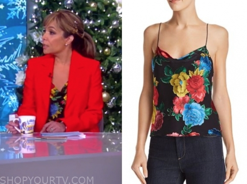 sunny hostin's black floral cowl neck camisole top