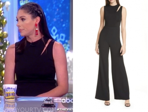 abby huntsman's black slash cutout jumpsuit