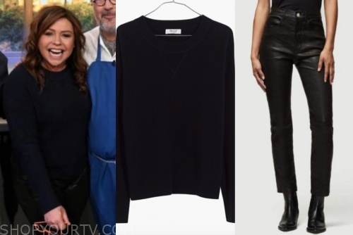 rachael ray's navy blue sweater and black leather pants