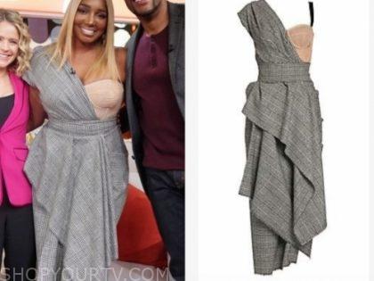 nene leakes's plaid asymmetric bustier dress