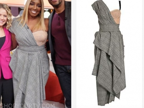 nene leakes's plaid asymmetric bustier dress