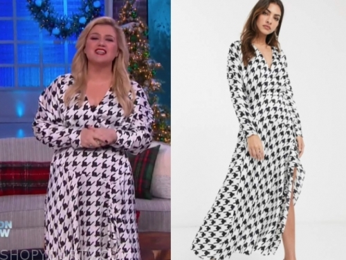 kelly clarkson's houndstooth midi dress
