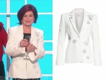 sharon osbourne's white embellished blazer