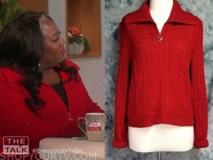 sheryl underwood's red metallic cable knit sweater