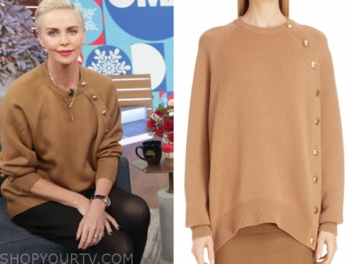 charlize theron's camel button sweater