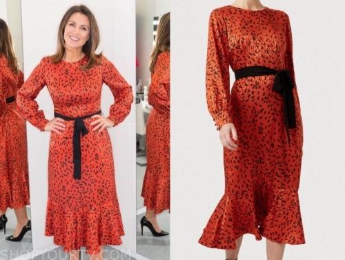 susanna reid's red and black printed midi dress