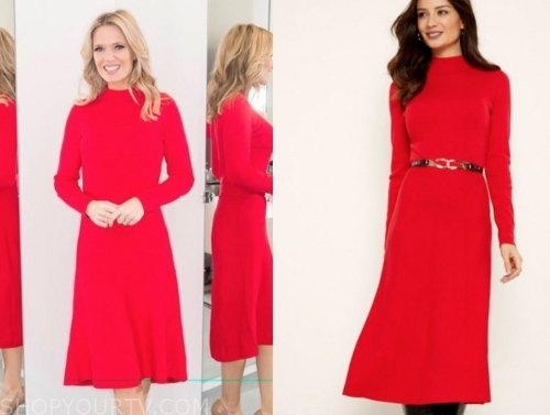 charlotte hawkins's red midi dress