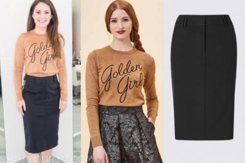 laura tobin golden girl sweater and black pencil skirt