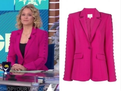 sara haines's hot pink button sleeve blazer
