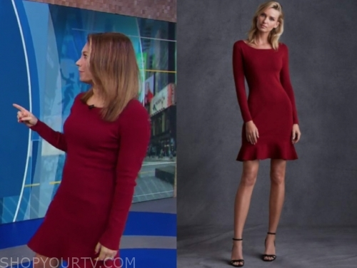 ginger zee's red long sleeve knit dress