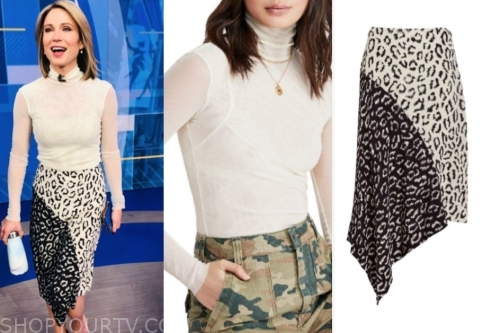 amy robach ivory turtleneck and leopard skirt