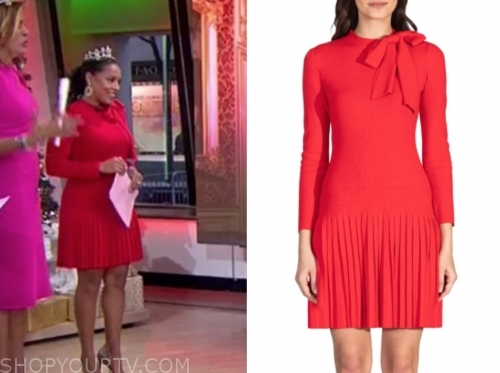 sheinelle jones's red tie neck pleated dress