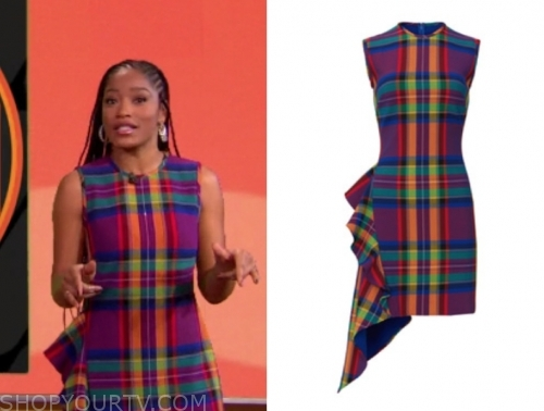 keke palmer's multicolor plaid ruffle sheath dress