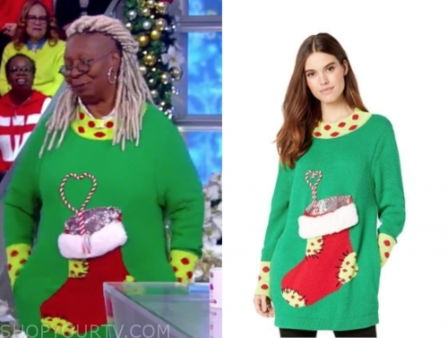 whoopi goldberg's green stocking sweater