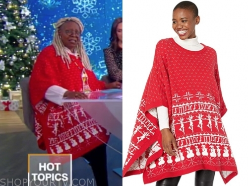 whoopi goldberg's red and white fair isle cape