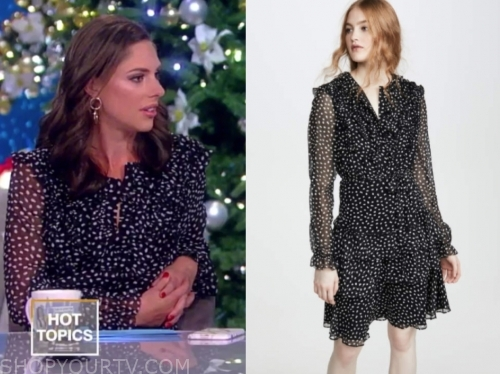 abby huntsman's black and white dot ruffle dress