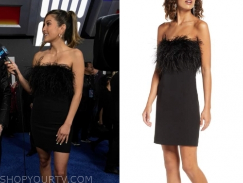 erin lim's black feather strapless dress