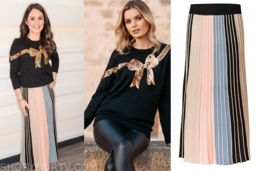 laura tobin's gold and black sequin sweater and pleated skirt