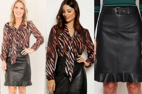 charlotte hawkins's zebra tie neck top and black leather skirt