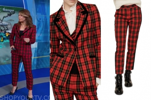 ginger zee's red plaid blazer and pants