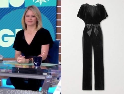 sara haines's black velvet jumpsuit